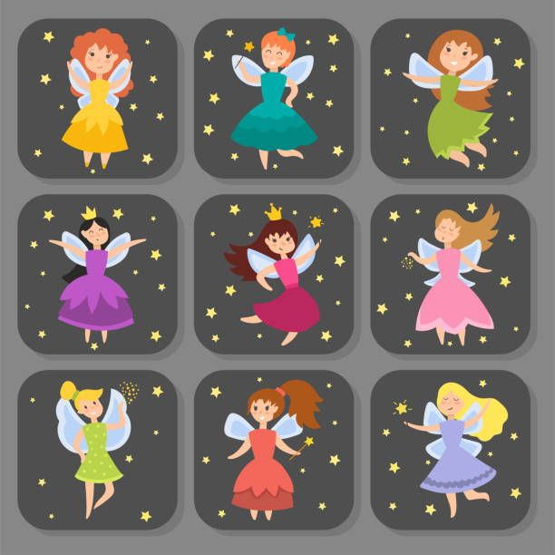 Fada princesa adorável personagens meninas de anjo de beleza de imaginação de cartões com ilustração vetorial de asas - ilustração de arte em vetor
