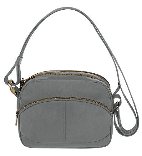 Women's Shoulder Bags - Travelon AntiTheft Signature E W Shoulder Bag Pewter One Size ** Check out this great product.