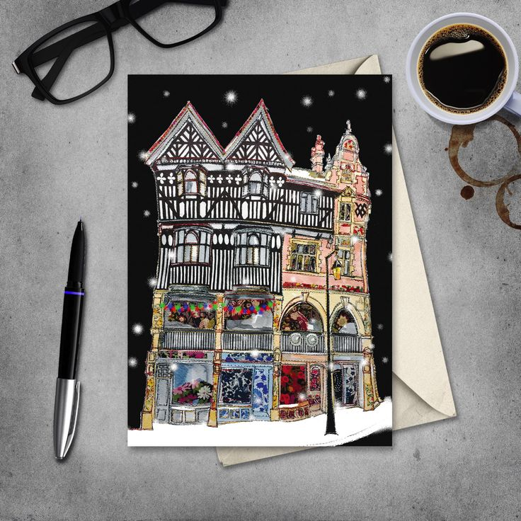 Chester - Christmas card - Chester Rows - blank inside by JennyDunlopArt on Etsy