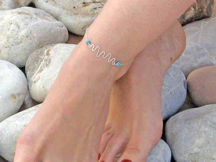 Wavy Anklet, Handcrafted Charm Ankle Bracelet, 14k Gold Fill or 925 Sterling Silver, Turquoise Anklet, Beach Foot Jewelry, Bridesmaid Gift