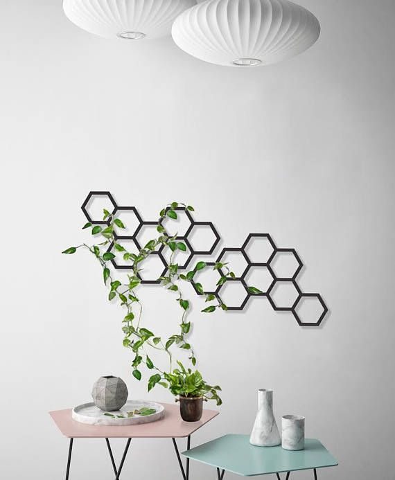 Modern Modular Trellis Can Be Hang In Different Combinations You Can Hang One Or More As You Like Geometric Wall Decor Metal Wall Planters Geometric Planter