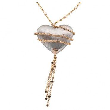 Ένα μοντέρνο κολιέ καρδιά από λευκόχρυσο Κ14 με χρυσή αλυσίδα περιμετρικά σε ματ σαγρέ φινίρισμα | Κολιέ ΤΣΑΛΔΑΡΗΣ στο Χαλάνδρι #καρδια #αλυσιδα #λευκοχρυσο #χρυσό #κολιέ