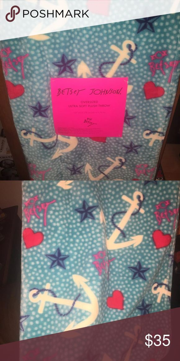 Betsey johnson oversized nautical blanket Super soft. The color of the blanket is a bright  aqua blue, with pink hearts, anchors, and stars. Brand new Betsey Johnson Accessories