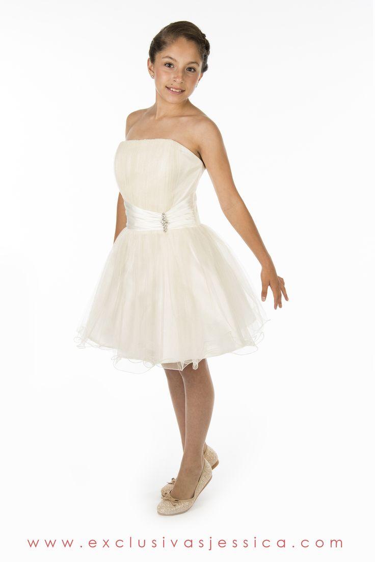 Jessica Vestidos #fiesta #gala #moda #drees #vestidos #juniors #graduación #graduaciones #mexico #DF #15Años #fifteen #graduation #ropa #cool #vestido #corto #color #blanco #roto #hueso #marfil #white