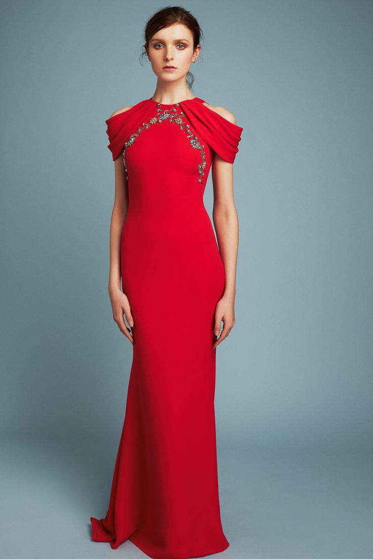 Reem Acra Pre Fall 2017: Elegant in red! I like the ruffle cold shoulder detail with the silver brocade! Classy & Elegant!