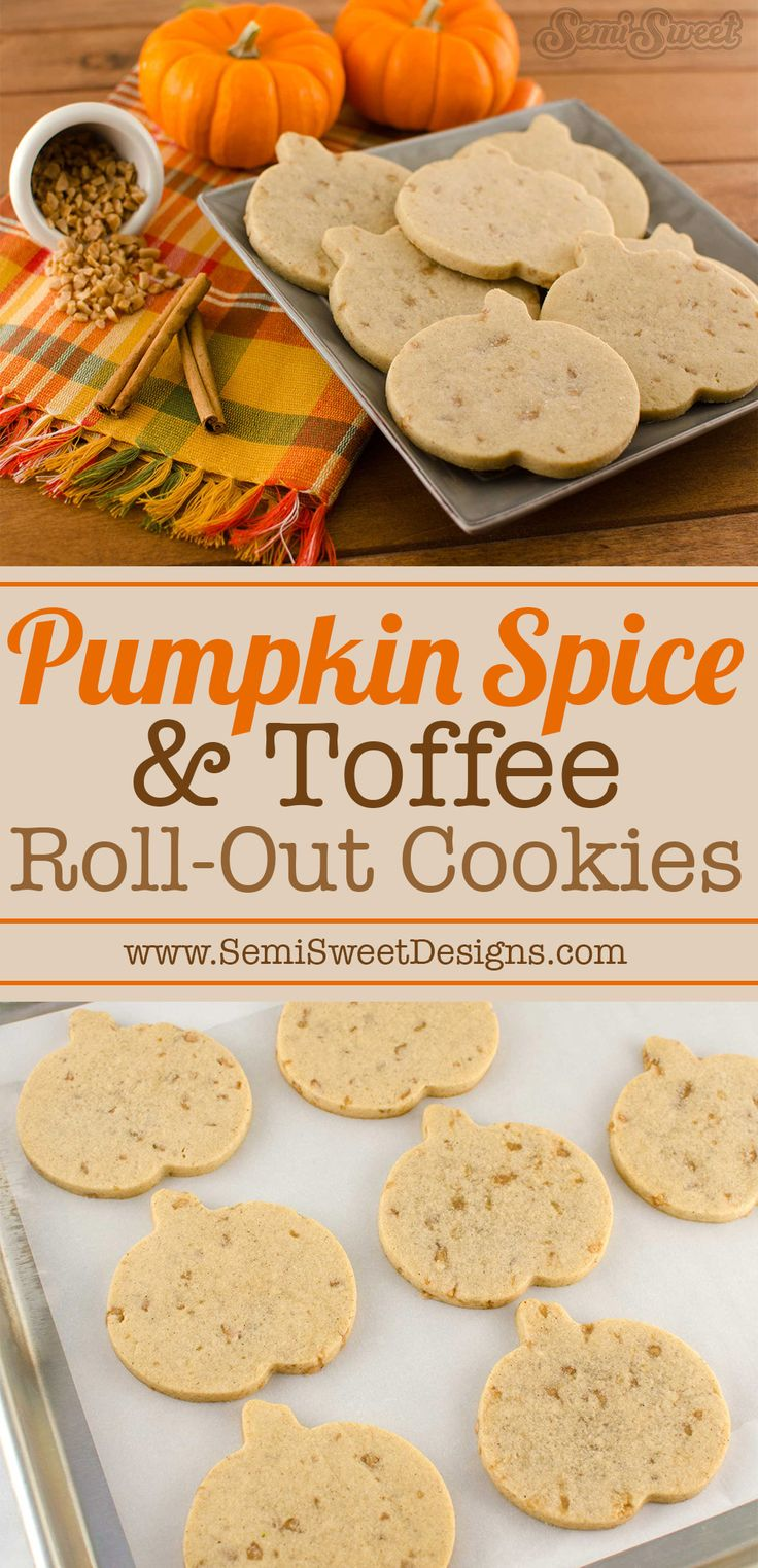 Delicious fall flavored cookie! Pumpkin Spice toffee roll-out cookies by SemiSweetDesigns.com | Perfect recipe for decorated cookies.