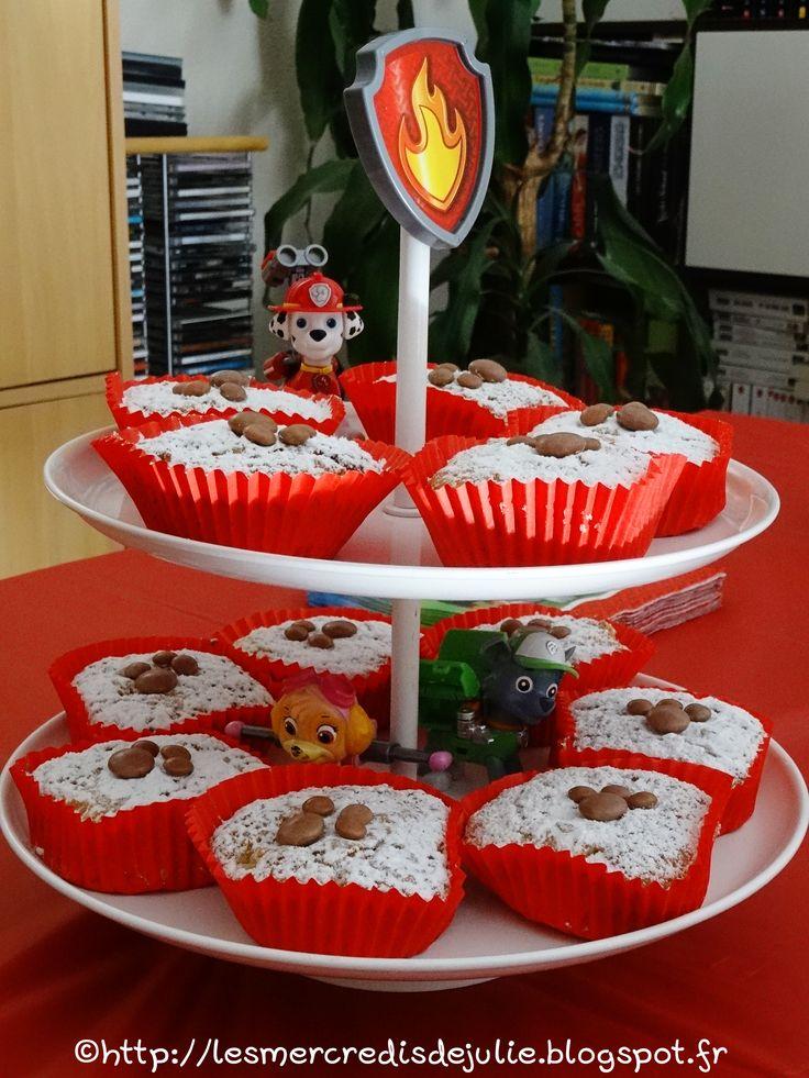 Les Mercredis de Julie : Muffins poires pépites chocolat  - Thème Pat'Patrouille