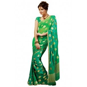 Shop Now - http://www.valehri.com/green-designer-party-saree-with-blouse-713