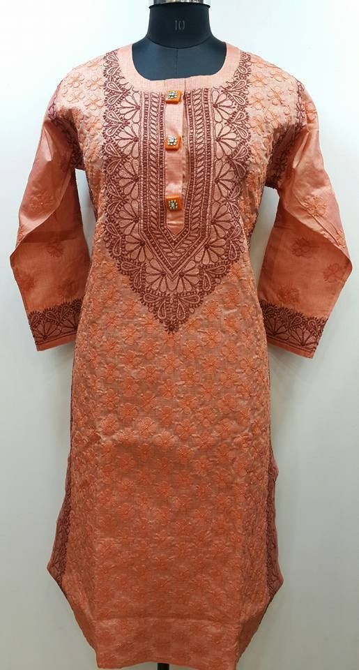Lucknow Chikan Exclusif Sarabsons Shop No 101, Naveen Market, Kanpur. Lucknowi Chikankari Hand Embroidered Kurti Peach Silk Rs. 3,150.00 only. Free Shipping. COD. Order on Call / Whatsapp +91-9918602101 or click to Buy Online