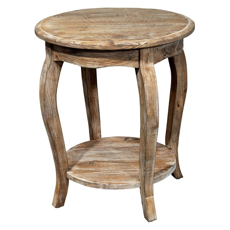 Alaterre Rustic Reclaimed Driftwood Round End Table - ARSA1525