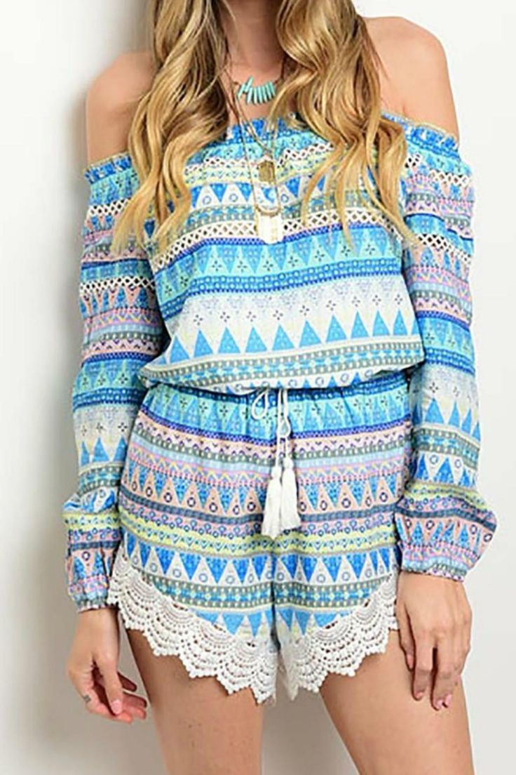 Boho chic off the shoulder romper featuring flattering elastic waist with tassel tie and crochet hem.   Boho Print Romper by Pretty Little Things. Clothing - Jumpsuits & Rompers - Rompers New Hampshire