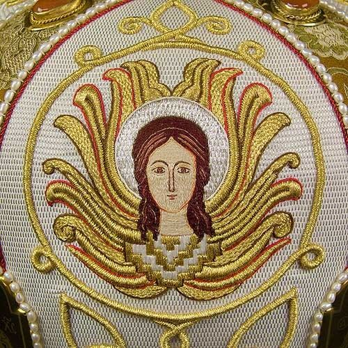 The Four Evangelists White Mitre, #goldwork #inspiration #orthodoxcraft #SewnGoods #Headwear #Mitres #catalogofgooddeed #christianity #art #beauty