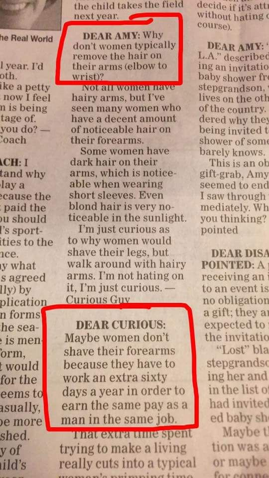 A Man Wrote in to a Newspaper Advice Column to Ask Why Women Don't Shave Their Arms