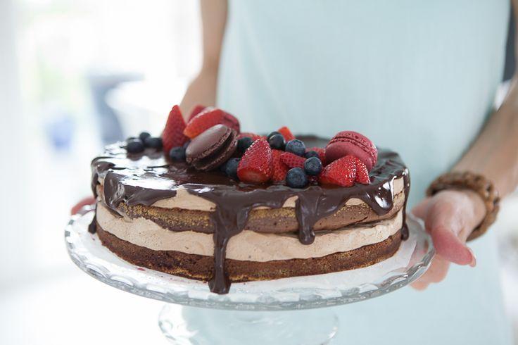 Birthday cake with chocolate and berries