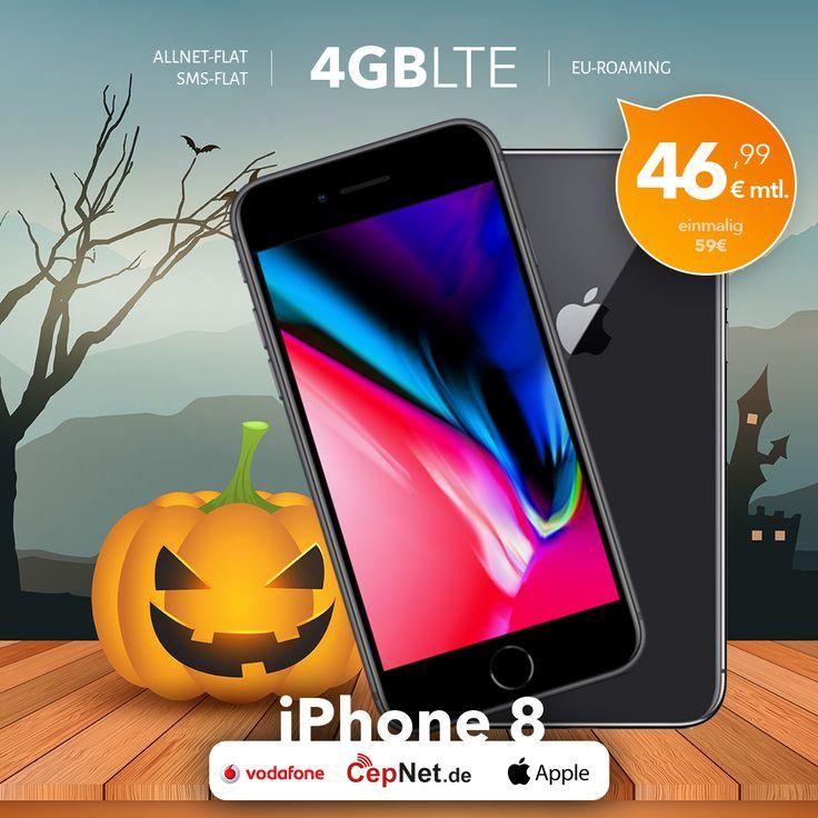 🎃Hallo Oktober  🤳Apple iPhone 8 64GB mit günstigem Vodafone Smart XL V.I.P. Vertrag  👉👉 https://www.cepnet.de/smartphones/apple/iphone-8/?utm_source=cepnet_sosyal&utm_medium=sosyal&utm_campaign=iphone8&bid=faa    ✅Telefonie-Flat* in alle dt. Handy-Netze  ✅Telefonie-Flat* ins dt. Festnetz  ✅SMS-Flat* in alle dt. Handy-Netze  ✅Internet-Flat* 4 GB (LTE) mit bis zu 500 Mbit/s (danach Drosselung auf 32 kbit/s)  ✅EU-Roaming EU-Weit ohne Zusatzkosten Surfen, Simsen und Telefonieren…