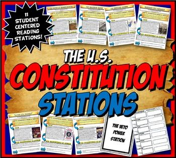 This content rich activity is student centered and interactive! This US Constitution stations activity has 11 stations with close readings analyzing key aspects of the Constitution. Each reading is divided into 3 sections which has the students analyze excerpts from the Constitution, why our founding fathers wrote it the way they did and  how the article is in action today.