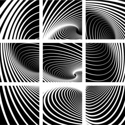 dynamiques motif noir et blanc en spirale 01 vecteurs