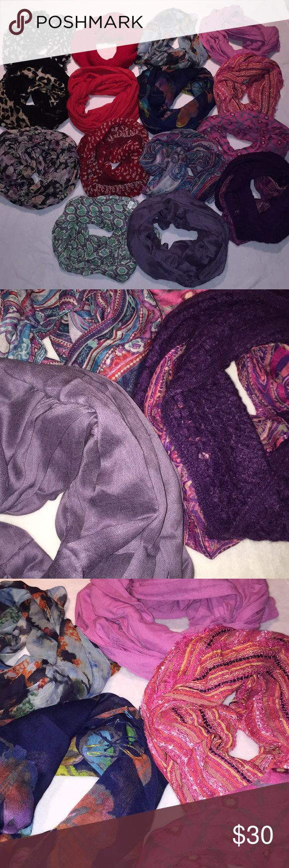 Bundle of Scarves, Scarves, Scarves.... Mixture of infinity and single length scarves. Lace, knits...Excellent condition. I literally wore 4? out of all these. No stains/rips, but you may find a snag in a couple.  Nothing major. All have been stored away. Purchased at JCP,  Old Navy, Nordstrom, TJ Maxx.... Accessories Scarves & Wraps