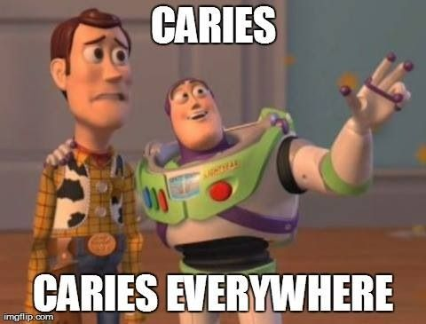 Caries... Caries everywhere! Why does Woody think that's a bad thing and Buzz Lightyear think it's a good thing?