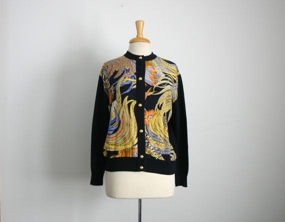 1990s ferragamo silk scarf detail cardigan sweater, size medium