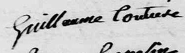 Signature de Guillaume Couture, l'ancêtre.