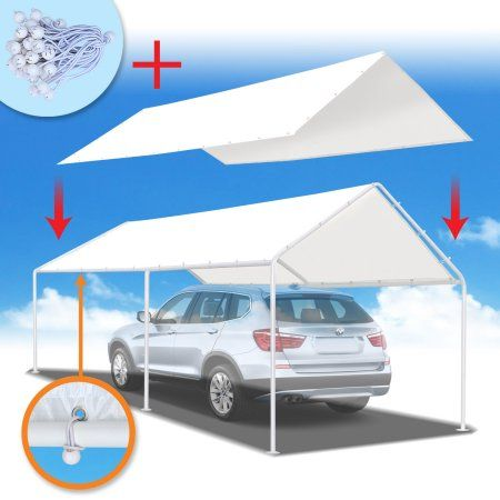 Strong Camel New 10'x20' Canopy for Carport Tent Garage Tarp Top Shelter Cover w Ball Bungees (Only cover, Frame is not included ), White