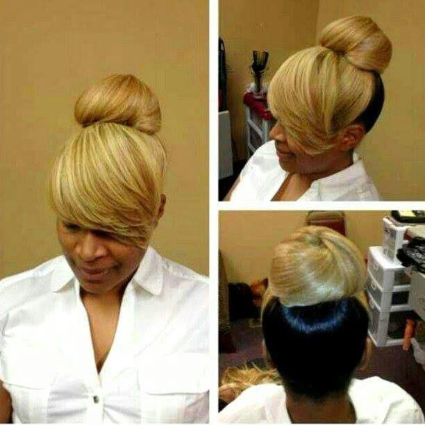 Two Toned Bun With Bangs Hair Ideas Pinterest Buns