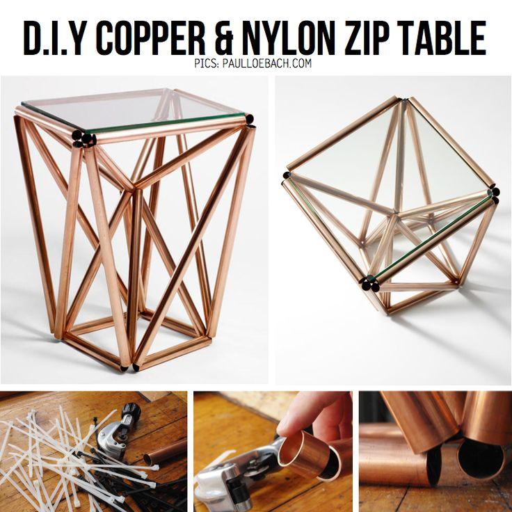 DIY Copper Pipe TableCopper Pipe, Diy Copper, Side Tables, Diy Tables, Copper Tables, Zip Tables, Copper Zip, Copper Diy, Nylons Zip