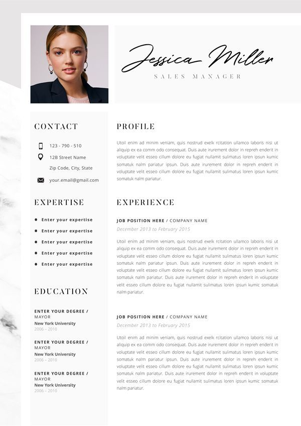Beste Professional Resume Template, CV Template Editable in MS Word and HT-58