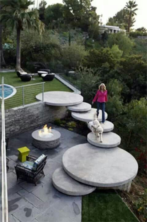 Big concrete circle steps