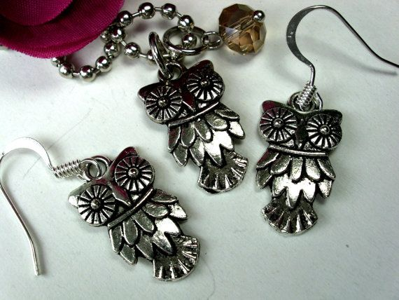 Owl Charm Necklace and Earring Set with Cyrstal by CharmAccents, $18.00