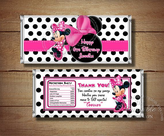 Printable Minnie Mouse Birthday Candy Bar by ThePrintableOccasion