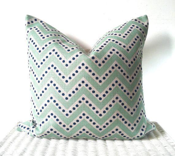SALE Blue polka dot chevron cushion zig zag blue by AugustPlaceUK