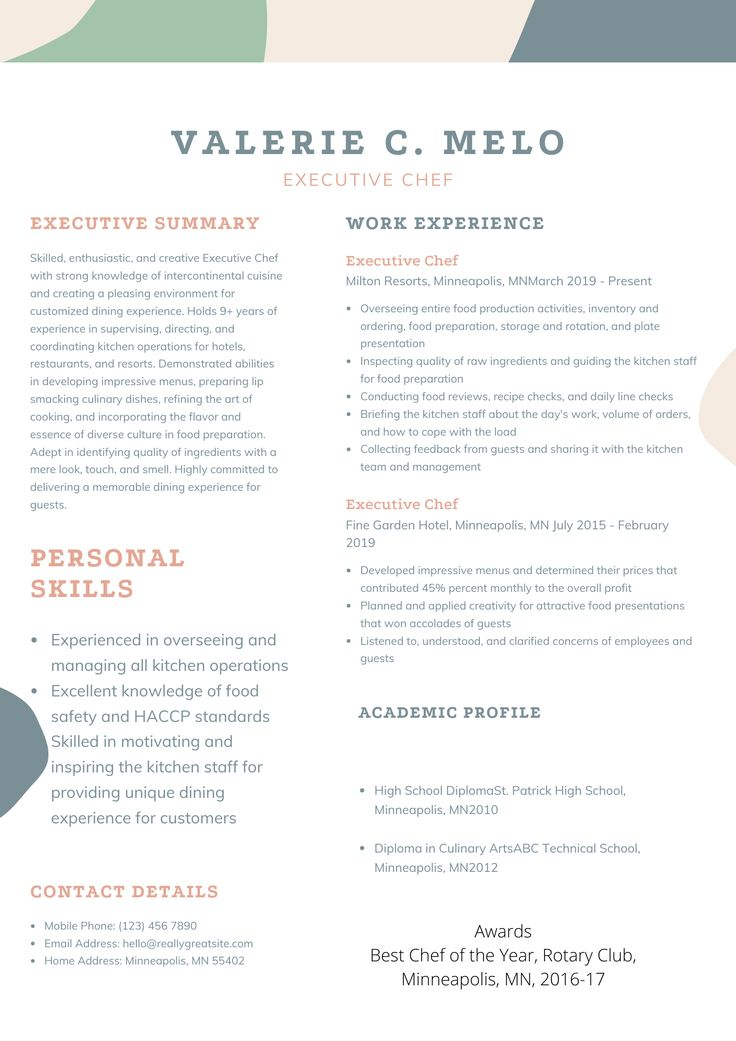 Executive Chef Resume Sample in 2020 Chef resume