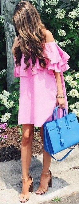#summer #preppy #outfits | Ruffled Pink Dress