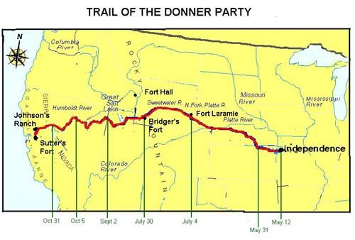 Donner Party Map Donner Party Pinterest Legends The - Map of us gold migration
