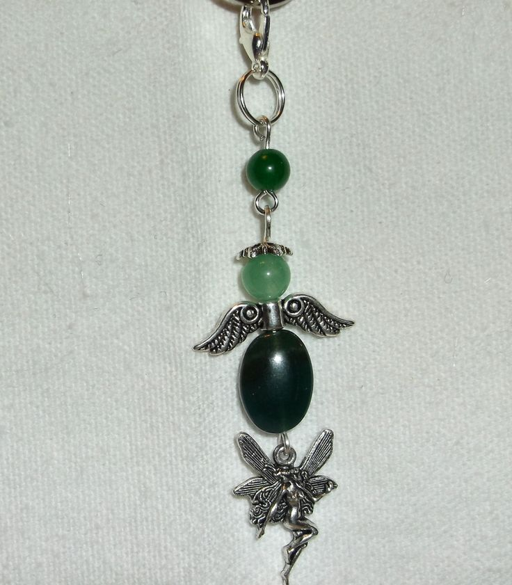 Handmade Angels Indian Agate and Jade Key Chain, Purse Dangle, Backpack Dangle, Pendant, Charm - pinned by pin4etsy.com