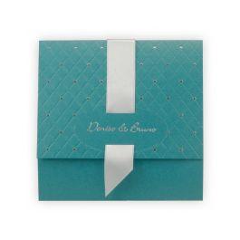 Faire-part mariage chic : Irisé turquoise & effet matelassé/points argent