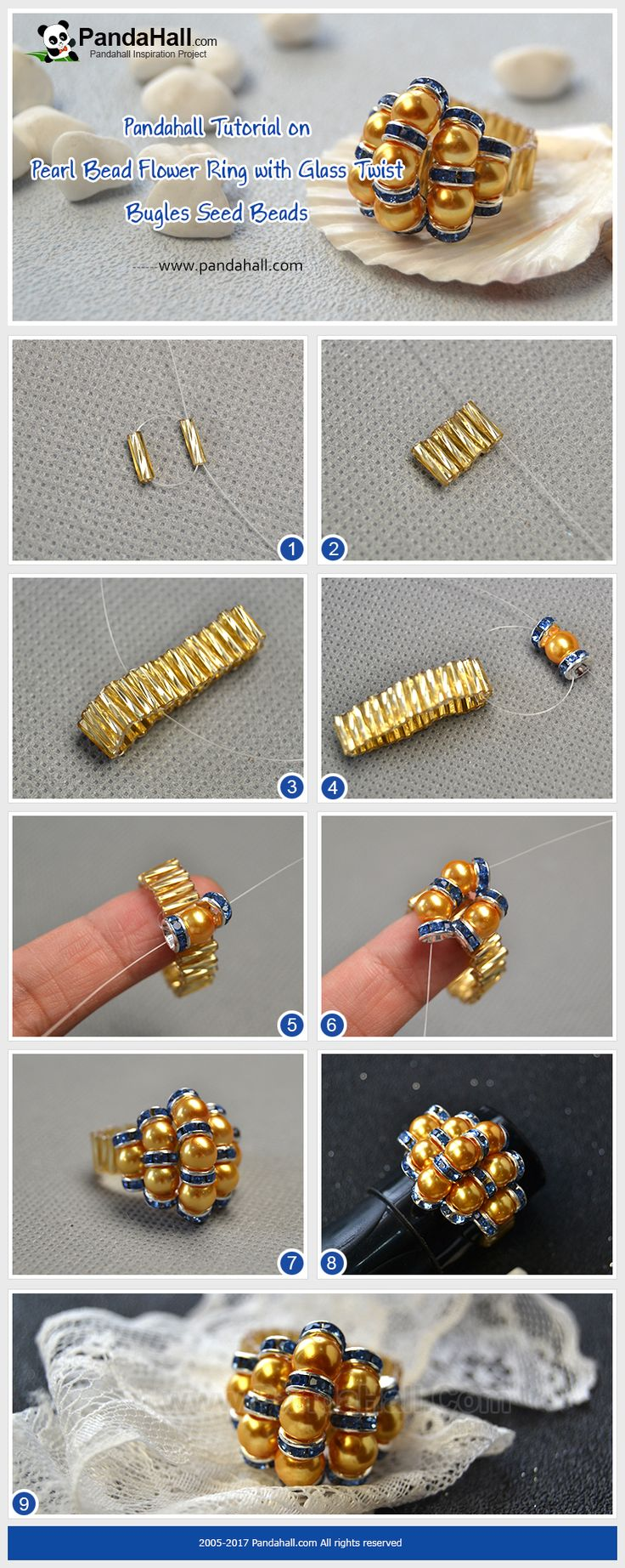 How to Make Pearl Bead Flower Ring with Glass Twist Bugles Seed Beads With pearl beads, glass twist bugle seed beads and rhinestone spacer beads, you can change them into a beautiful ring in 10 minutes!