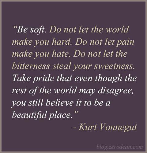 Soft Quotes Custom Best 25 Be Soft Quote Ideas On Pinterest  Be Soft Kurt Vonnegut