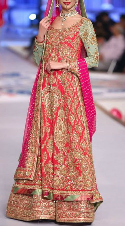 Designer Satin Silk Red Hand Work Bridal Sharara