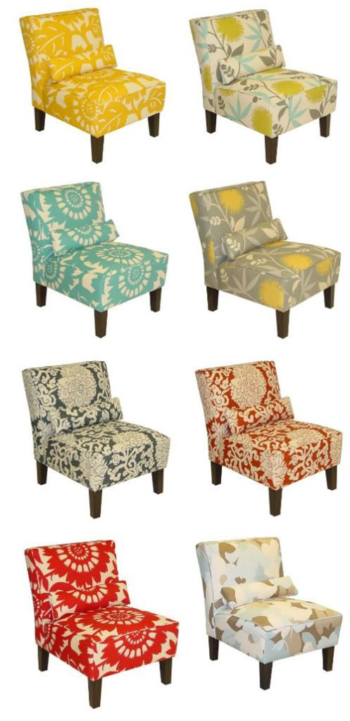 The cream green and aqua print chair or the gray and cream and yellow chair would look good in new salon.
