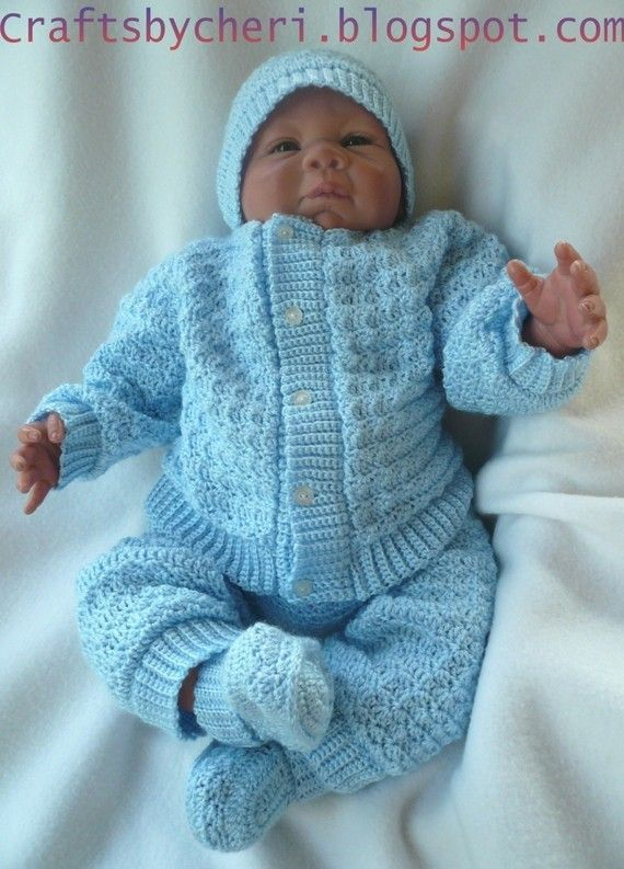 Cheri Crochet Original Baby PATTERN-Newborn to 3 months Sweater, Leggings, Hat, and Booties