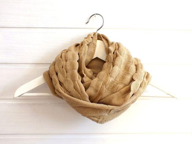 Beige woven infinty loop scarf