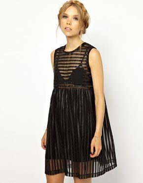Smock Dress with Sheer Panels