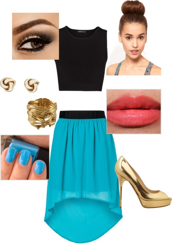 """""""high low skirt outfit"""" by courtney360 on Polyvore"""