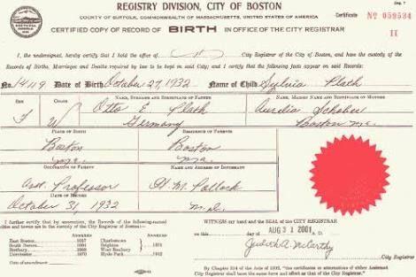 Acta de nacimiento de Sylvia Plath.