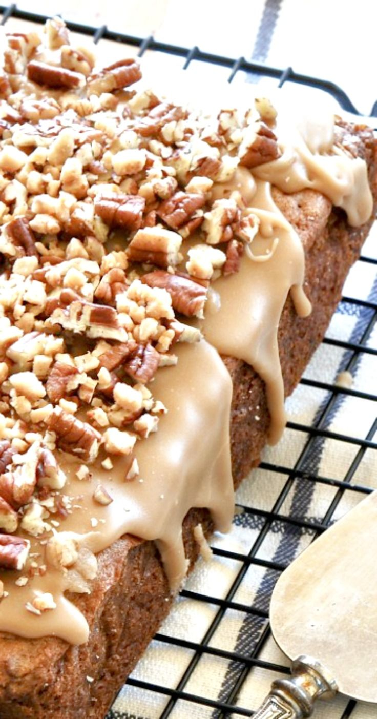 Caramel Apple Pecan Blondies-Thick, Rich, Moist and Chewy Apple Blondies With An Amazing Caramel Glaze!