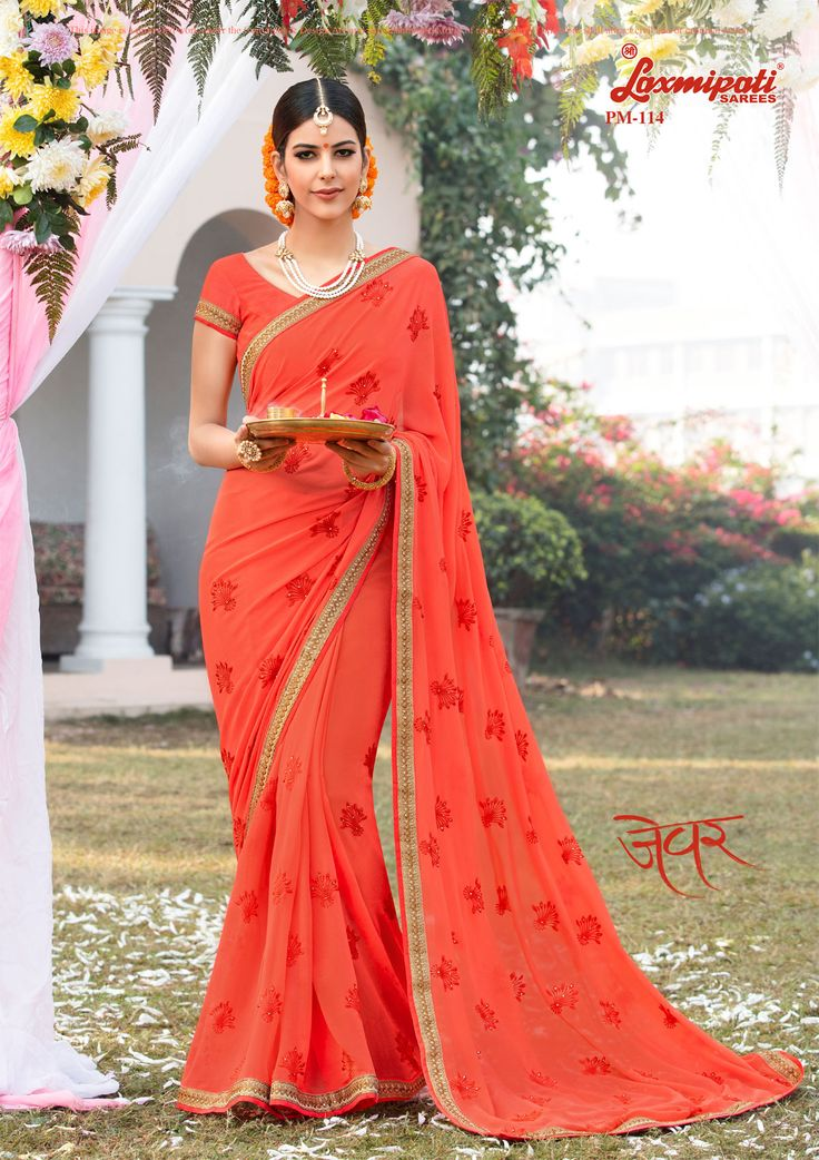 Get this stunning orange color #georgette #embroidery_saree with resham & stone work along with embroidery zari lace border only at #Laxmiaptisarees. #Catalogue- Zever, Design Number- 114 Price -₹ 2792.00