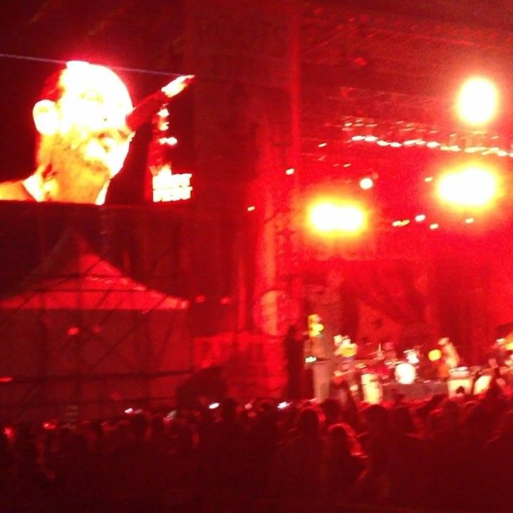 Social distortion  @mikeness at riot fest  2014 .  Sharing this in honor of Johnny Cashs upcoming bday .  Anybody that was there knows it was a big ole mud pit by day 3  #riotfest2014  #riotfest #chicago #humboldtpark #socialdistortion #mikeness #johnnycash #maninblack #ringoffire #letitburn  #mudpit